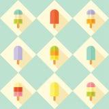 Płaski wektorowy bezszwowy wzór z popsicles Fotografia Royalty Free