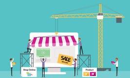 Płaski wektorowy biznesowy online sklep Tworzy Online sklep ludzie biznesowi Fotografia Royalty Free
