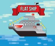 Płaski wektorowy statek, Denny transport, ilustracja, rejs odtransportowywa turystów zdjęcia stock