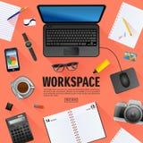 Płaski workspace sztandar dla kreatywnie projekta Zdjęcie Stock