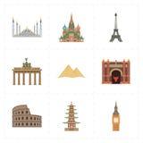 9 płaskich punktów zwrotnych ikon Obrazy Stock