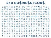 260 Płaskich Wektorowych Biznesowych ikon Fotografia Stock