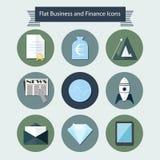Płaskie biznesowe i finansowe ikony 2 ilustracji