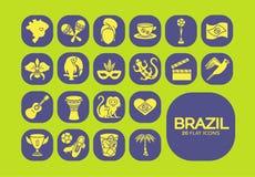Płaskie ikony Brazylia 5 Zdjęcia Royalty Free