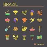 Płaskie ikony Brazylia 7 Obrazy Stock