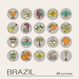 Płaskie ikony Brazylia 9 Zdjęcia Royalty Free