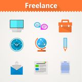 Płaskie ikony dla freelance i biznes Obrazy Stock