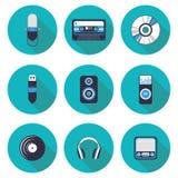 Płaskie ikony Muzyczne Zdjęcie Royalty Free