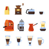 Płaskie kawowe ikony Zdjęcie Royalty Free