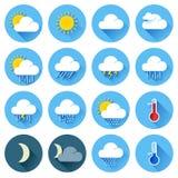 Płaskie kolor pogody ikony Obraz Stock