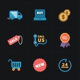 Płaskie kolorowe sklepowe ikony na czerni Zdjęcie Stock