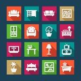Płaskie meblarskie ikony Zdjęcia Royalty Free