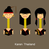 Płaskiego projekta avatar Tajlandzkie kobiety Wektorowy ilustracyjny projekt Zdjęcie Royalty Free