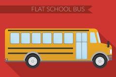 Płaskiego projekta miasta wektorowy ilustracyjny transport, autobus szkolny, boczny widok Obrazy Royalty Free
