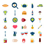 Płaskiego wektorowego karmowego napoju menu sieci app interfejsu ikony mobilna paczka Obraz Royalty Free