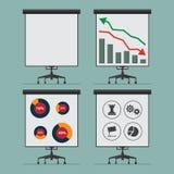 Płaskiej ikony infographic element analityka proces na prezentaci desce wektor Obraz Royalty Free