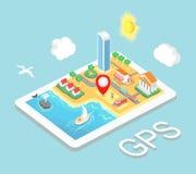 Płaskiej mapy GPS mobilna nawigacja, Infographic 3d Fotografia Stock