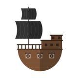 Płaskiej pirata statku kreskówki ikony odosobniony wektor Obraz Stock