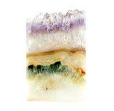 Płatowaty ametystowy kwarcowy naturalny klejnot z agatem Obraz Royalty Free