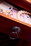 pärlor för drowereuroguld Fotografering för Bildbyråer