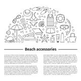 1p. Beach accessories. Poster. Line style royalty free illustration