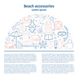 1p. Beach accessories. Poster. Line style vector illustration