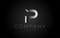 P black white silver letter logo design icon alphabet 3d Royalty Free Stock Images
