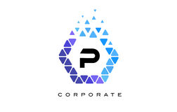 P Blue Hexagon Letter Logo with Triangles. P Blue Hexagon Letter Logo Design with Blue Mosaic Triangles Pattern stock illustration