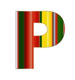 P brief in kleurrijke lijnen op witte achtergrond Stock Foto's
