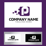 P Brief Logo Design Vector Business Card Stock Afbeeldingen