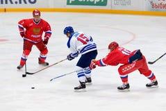 P. Bure (10) vs L. Jarvi (15) Stock Photo