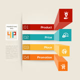 4P Business Marketing Concept Illustration. Modern style graph layout with 4 P Marketing Mix Business concept royalty free illustration