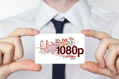 1080p. Businessman in white shirt with a black tie showing or ho. Lding business card royalty free illustration