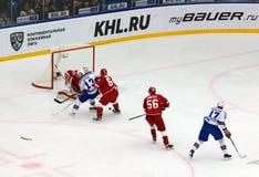 P. Datsyuk (13) and I. Kovalchuk (17) attack. PODOLSK, RUSSIA - NOVEMBER 11, 2016: P. Datsyuk (13) and I. Kovalchuk (17) attack on hockey royalty free stock images