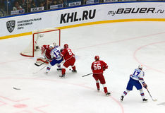 P. Datsyuk (13) and I. Kovalchuk (17) attack Royalty Free Stock Images