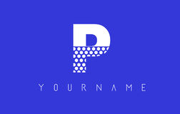 P Dotted Letter Logo Design with Blue Background. Royalty Free Stock Photography