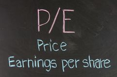 P/E Price Earnings Per Share Stock Photos