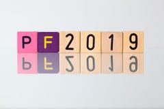 P f 2019 - uma inscrição dos blocos das crianças Imagens de Stock Royalty Free