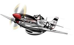 P-51 flygplantecknad film för mustang WWII vektor illustrationer