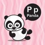 P het beeldverhaal en het alfabet van de Pandakleur voor kinderen aan het leren vect Stock Fotografie