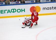 P Khokhryakov 62 contra M Afinogenov 61 Foto de Stock Royalty Free