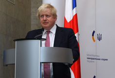 P Klimkin, b Johnson i W Waszczykowski konferencja prasowa w Kie Zdjęcie Stock