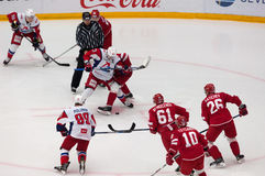 P. Kraskovsky (63) on faceoff. PODOLSK, RUSSIA - NOVEMBER 20, 2016: P. Kraskovsky (63) on faceoff on hockey game Vityaz vs Lokomotiv on Russia KHL Royalty Free Stock Photos