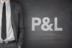 P&L sur le tableau noir Images stock