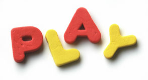 P.L.A.Y. Foam toy-letters forming the word play. All letters are in focus Royalty Free Stock Images