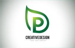 P Leaf Logo Letter Design with Green Leaf Outline Stock Photography