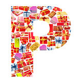 P Letter made of giftboxes Royalty Free Stock Image