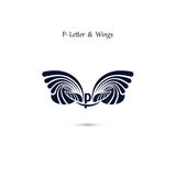 P-letter sign and angel wings.Monogram wing vector logo template Stock Photography