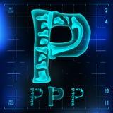 P Letter Vector. Capital Digit. Roentgen X-ray Font Light Sign. Medical Radiology Neon Scan Effect. Alphabet. 3D Blue. Light Digit With Bone. Medical, Hospital Stock Images