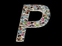 P llitera -旅行照片拼贴画  库存图片